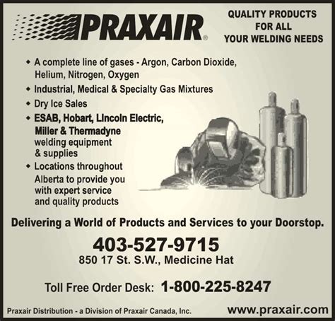 Plumbing Supplies Medicine Hat by Praxair Medicine Hat Ab 850 17th Sw Canpages