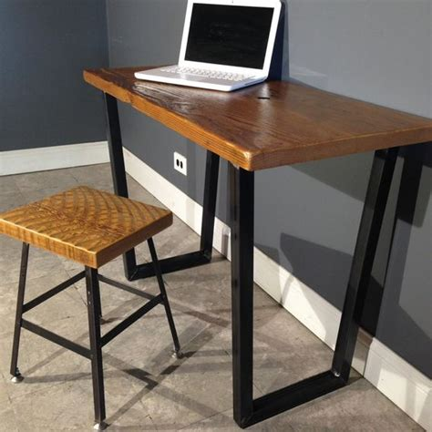 Custom Wood Computer Desk Crafted Salvaged Wood Computer Desk W Style Leg Base Endurovar Finish By