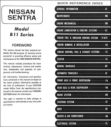 1983 datsun nissan sentra repair shop manual original