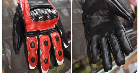 Sarung Tangan Kulit Carbon Look Protector toko jaket planetcostum sarung tangan fork merah putih