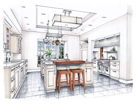 new beaux arts kitchen rendering sketches interior sketch and interiors