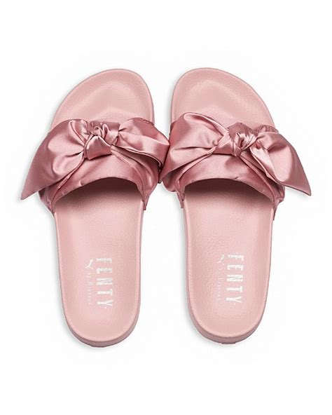 fenty by rihanna bow slide sandals bow s slide sandals light pink eyeconicwear