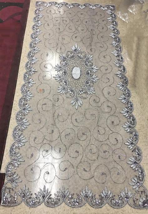 stunning silver beaded table runner 110cmx200cm
