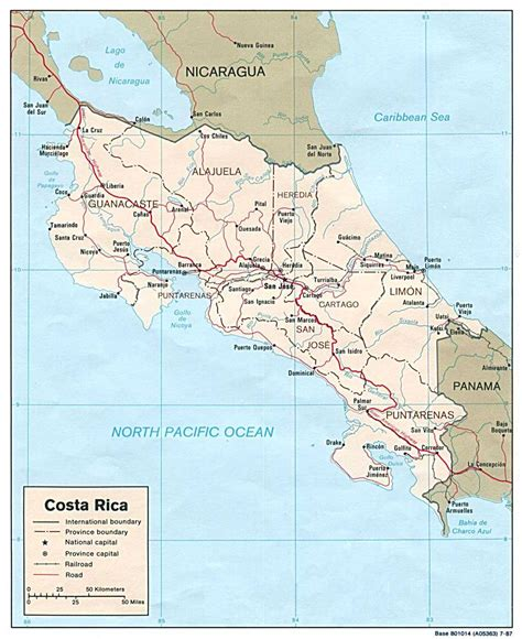 detailed road map of costa rica detailed administrative and political map of costa rica