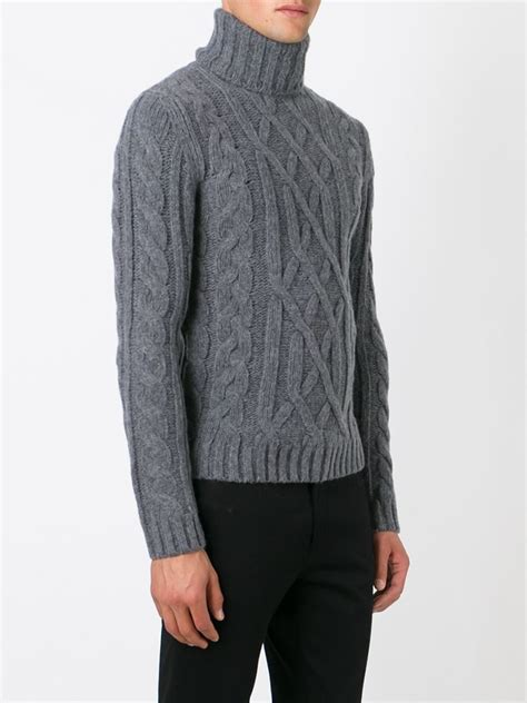 mens knit turtleneck sweater woolrich cable knit turtleneck sweater in gray for lyst