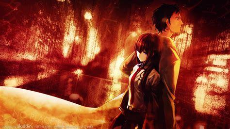 wallpaper anime gate makise kurisu rintaro okabe full hd wallpaper and