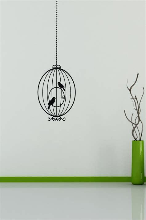 Bird Cage Wall Sticker Stiker 1 stickonmania vinyl wall decals hanging bird cage