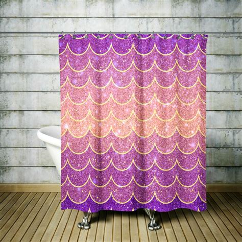 gold and purple curtains purple mermaid scales shower curtain gold mystical
