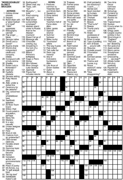 Printable Sunday Crossword