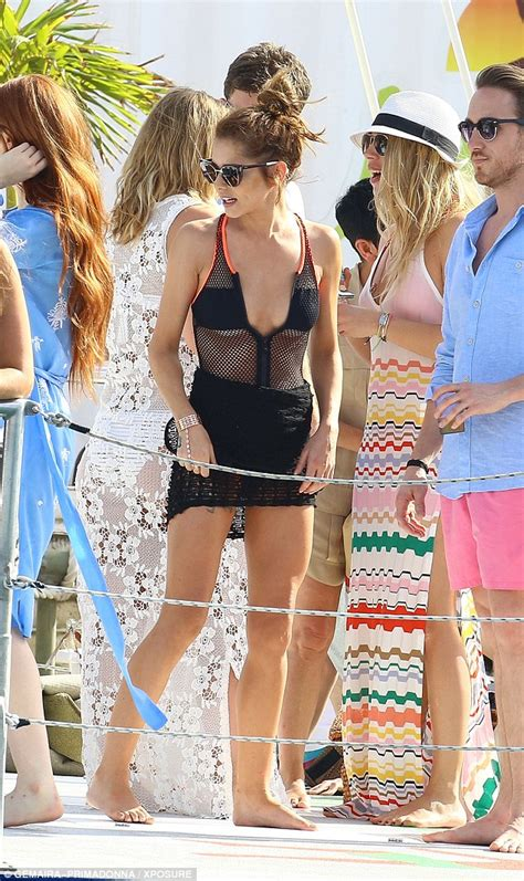 like a small boat x factor cheryl fernandez versini slips into racy mesh swimsuit at