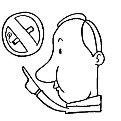 a man showing at the sign quot no smoking area quot coloring page