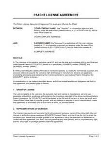 Patent Template by Patent License Agreement Template Sle Form