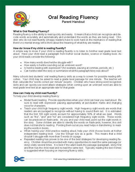 Parent Letter About Assessment reading fluency passage 3rd grade reading