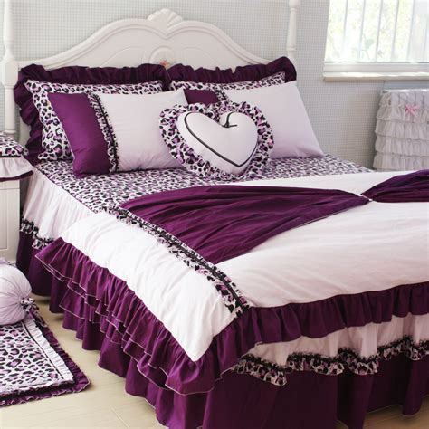 purple bedding sets uk free shipping purple princess ruffle bedding sets