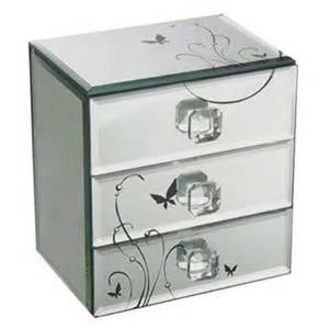 3 drawer mirror jewelry box made of glass and mdf back