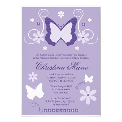 purple butterfly quinceanera invitations 5 quot x 7
