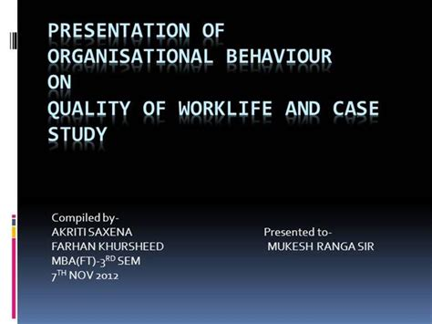 Organisational Behaviour Notes For Mba Ppt by Presentation Of Organisational Behaviour Authorstream