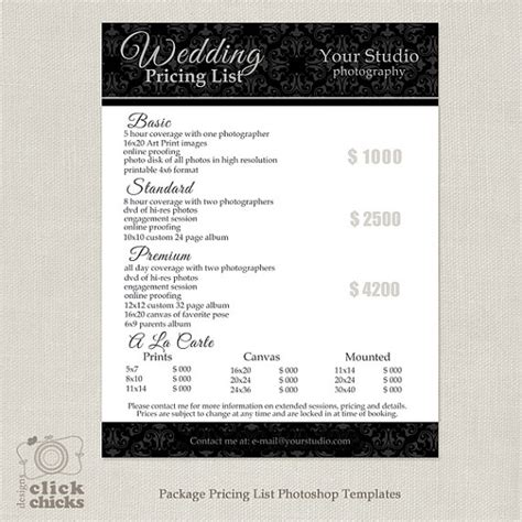 Photography Package Pricing List Template Wedding Photography Pricing Guide Price List Videography Price List Template