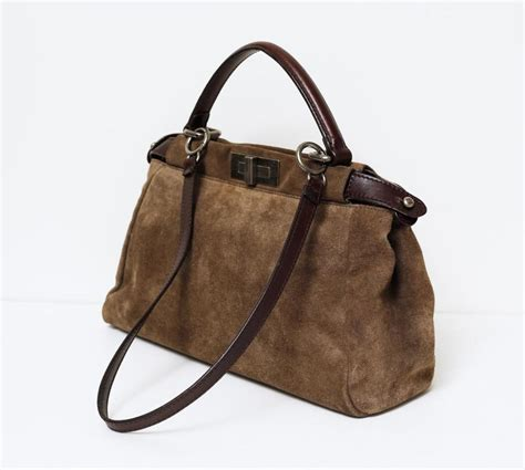 L Ericksons Scrummy Executive Assistant Patent Handbag by Fendi Blue And Brown Suede 28 Images Fendi Peekaboo