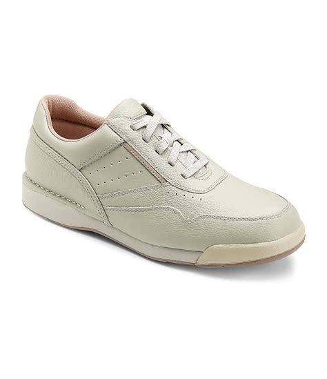 rockport prowalker leather walking shoes in white for