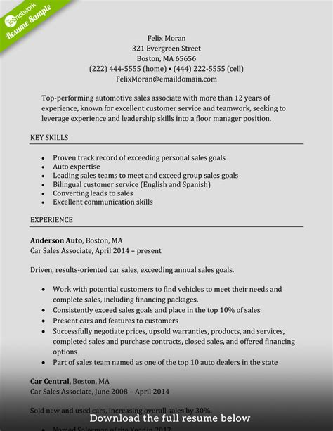 Resume Sles Executive Level How To Write A Sales Associate Resume Exles Included