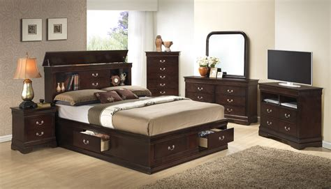 Cappuccino Bedroom Furniture by Furniture G3125 5 Storage Bedroom Set In