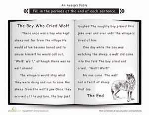 printable version of the boy who cried wolf punctuation the boy who cried wolf worksheet