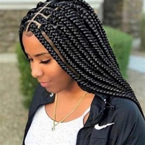 medium size box braids with a bang best braid hairstyles 2018 box hair style and big box