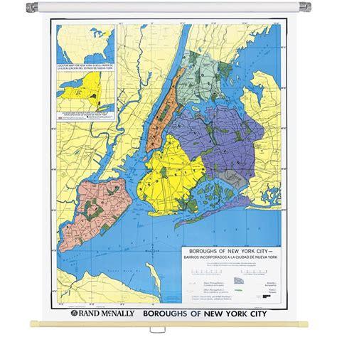 map of new york city boroughs new york city boroughs wall map rand mcnally store