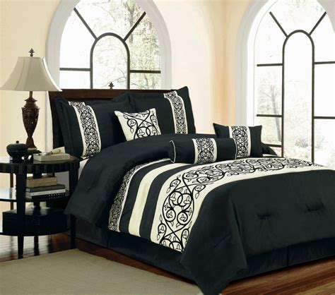 black and beige comforter set 11 piece king francisco black and beige bed in a bag set