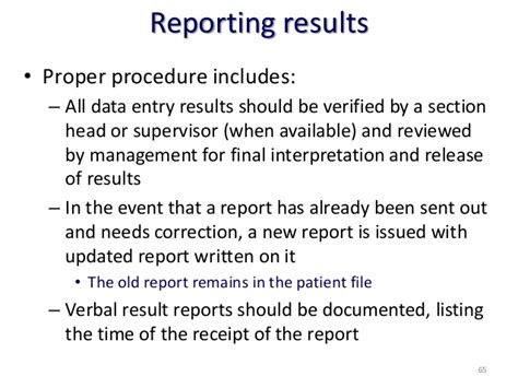 Exles Of Results Section Of A Lab Report by Quality In Clinical Laboratory