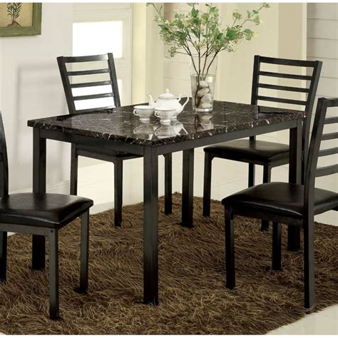 furniture of america maxson faux marble top dining table