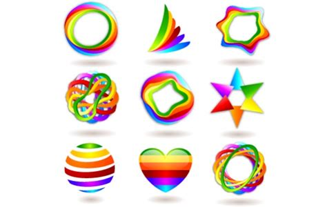 rainbow colorful abstract logo set free vector logo template