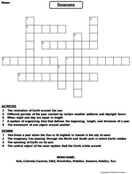 puzzle corner the science spot seasons worksheet crossword puzzle by science spot tpt