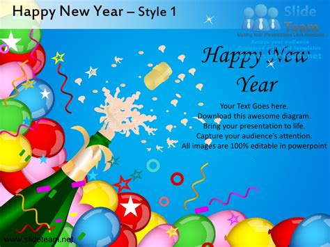 Happy New Year Style Design 1 Powerpoint Slides Happy New Year Powerpoint Presentation