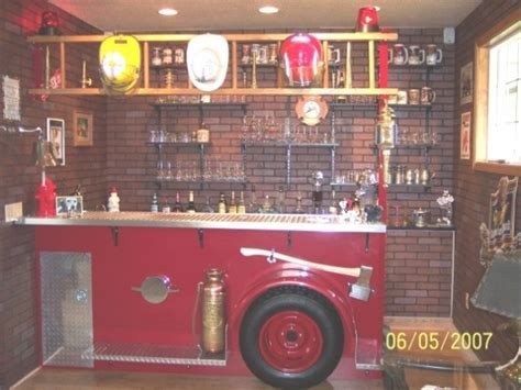 firefighter room side of a truck used as a bar room ff cave ideas pinter