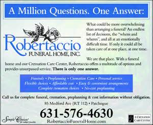 robertaccio funeral home robertaccio funeral home inc patchogue ny 11772 1201