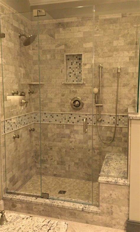Stone Tile Walk In Shower Design Kenwood Kitchens In Bathroom Showers Designs Walk In 2