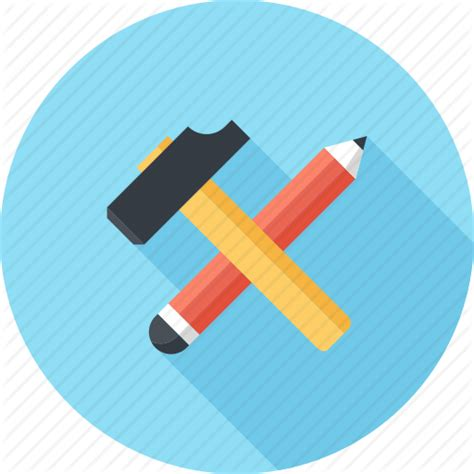 icon design build build construct design development hammer pencil
