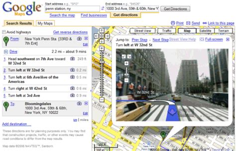Map Address Finder Combines Driving Directions With View