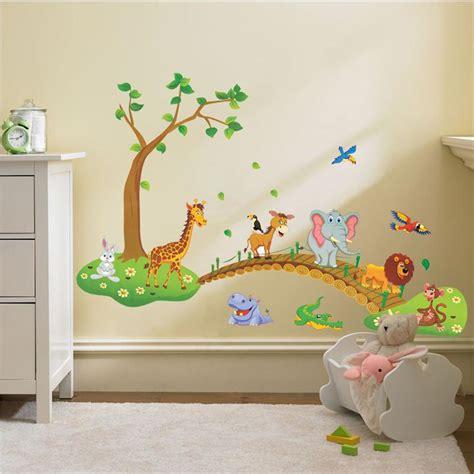 childrens bedroom wall stickers removable aliexpress buy lovely animals tree bridge baby children bedroom room decor