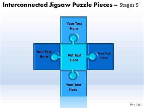 powerpoint template jigsaw puzzle piece falling with interconnected jigsaw puzzle pieces stages 5 powerpoint