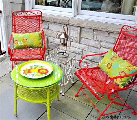 colorful outdoor iron patio furniture white wicker iron patio spray paint makeover