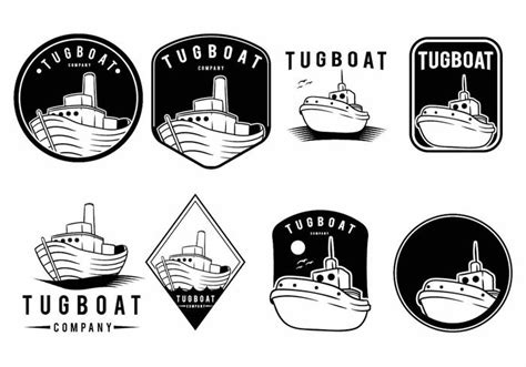 tugboat icon tugboat badge set download free vector art stock