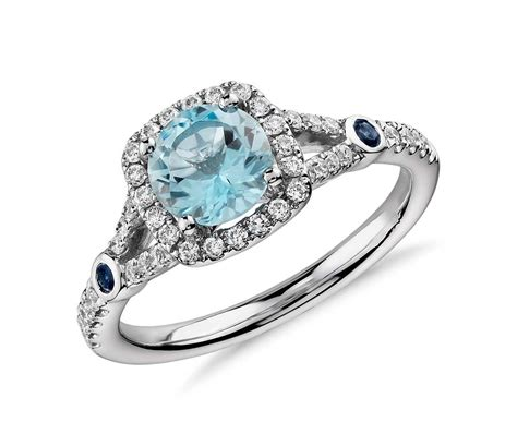 aquamarine and split shank halo ring in 14k white