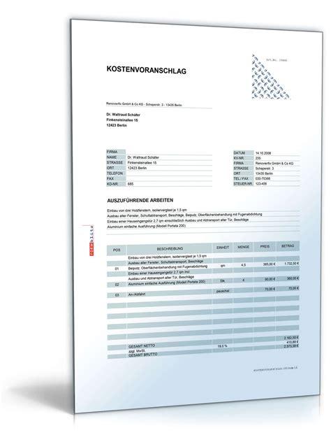 Muster Angebot Buchhaltung kostenvoranschlag fenster und t 252 reneinbau