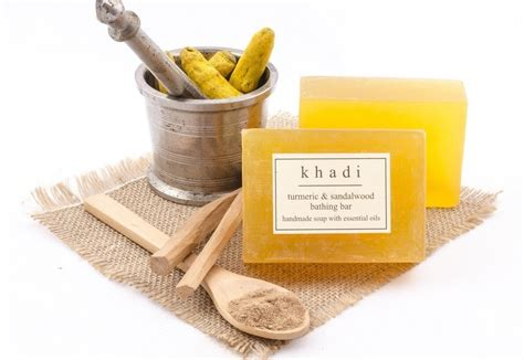 Handmade Bar Soap - khadi turmeric sandalwood handmade bar soap 125