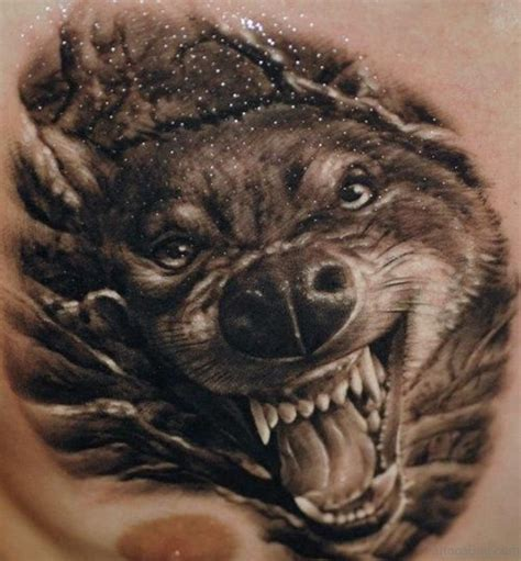 angry wolf tattoo 50 excellent wolf tattoos for chest