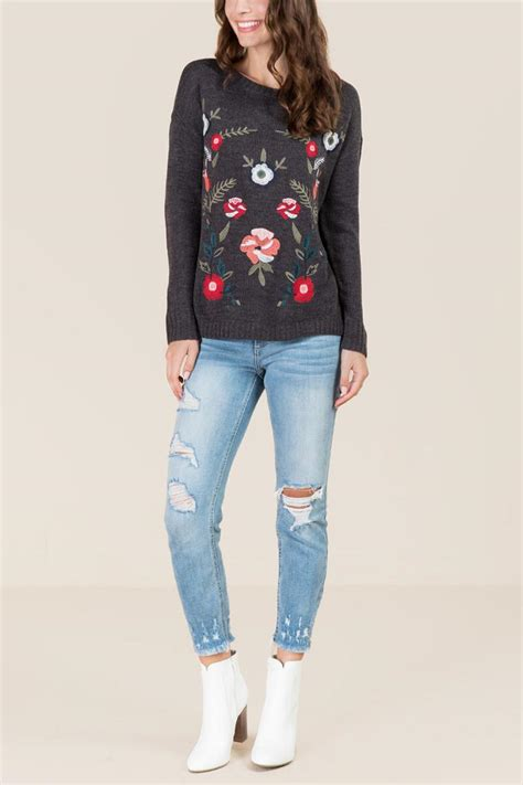 Floral Embroidered Pullover alecia floral embroidered pullover sweater s