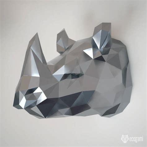 Make Your Own Papercraft - make your own papercraft rhinoceros diy wall by ecogami